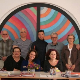 Faculty and students at the Sol and Carol LeWitt villa in Praiano, Italy on the Amalfi coast in March