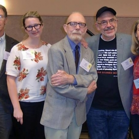 At the Northern California trade show with authors Kim Stanley Robinson, Hannah Kent, Ivan Doig, and Book Passage's Melissa Cistaro.