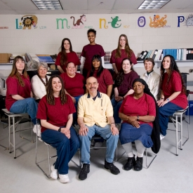 Wally Lamb posed with writing group at York Correctional Institution