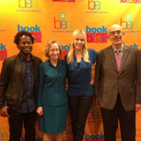 At a Boojk Expo America morning breakfast talk with fellow authors Ishmael Bea, Doris Kearns Goodwin, and Chelsea Handler. Chelsea announced to the crowd of a thousand or so that I had a sexual obsession about her, but I think it was the other way around.