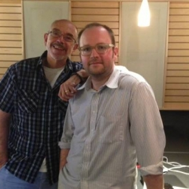 With producer extraordinaire Zane Birdwell during my performance as Orion Oh for the HarperCollins audio of WE ARE WATER.