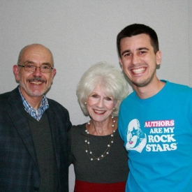 With the lovely and gracious Diane Rehm after my NPR interview with her. That's my son Justin on the right. At Diane's request, he performed some slam for her.